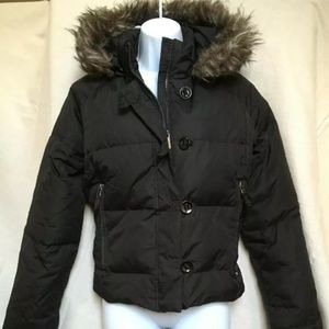 Grane Black Down And Feather Puffer Coat w/ Hood L
